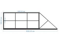 Ворота откатные 4000х1900 мм (каркас)