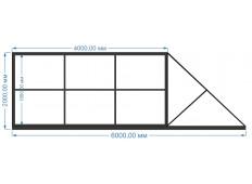 Ворота откатные 4000х2000 мм (каркас)