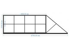 Ворота откатные 4500х2100 мм (каркас)